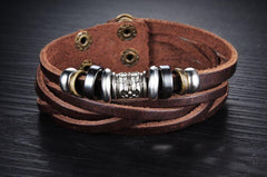 Genuine Leather Heavy Charm Men's Stainless Steel Bracelet