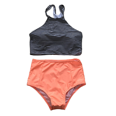 Striped High Waisted Swimsuit