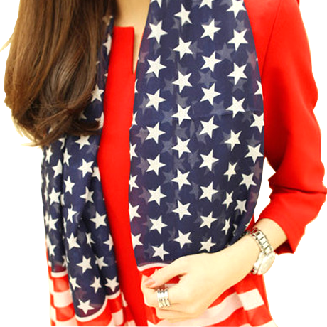 All American Stars & Stripes Chiffon Scarf