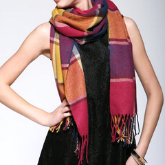 Plaid Style Wool Scarf and Shawl - Assorted Colors - BoardwalkBuy - 1
