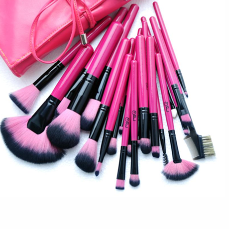 Hot Pink 24 Piece Make Up Brush Set