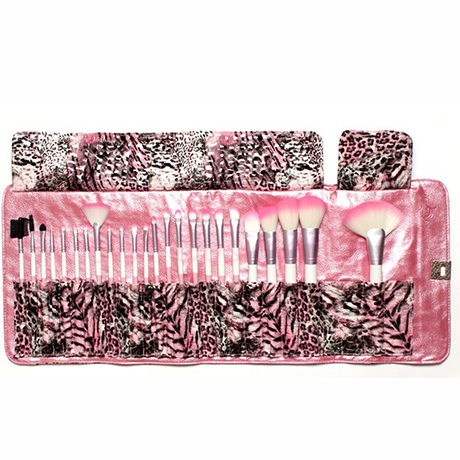 24 Piece Pink Leopard Brush Set