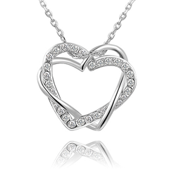 Crystal Double Heart Necklaces