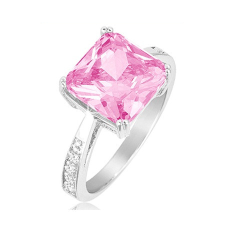 Pink Sapphire Princess Cut Ring w/ CZ Side Stones Rhodium Over Brass