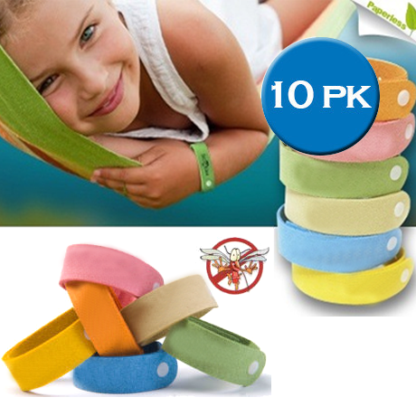 10 Pack Mosquito Bands - Assorted Colors