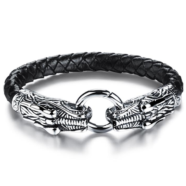 Game Of Thrones Inspired Double Dragon Stainless Steel Men's Bracelet