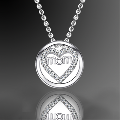 Mom Heart Pendant with Crystal Necklace