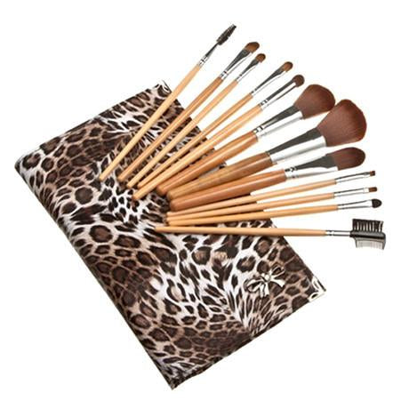 12 Piece Leopard Skin Brush Set - Flat Case