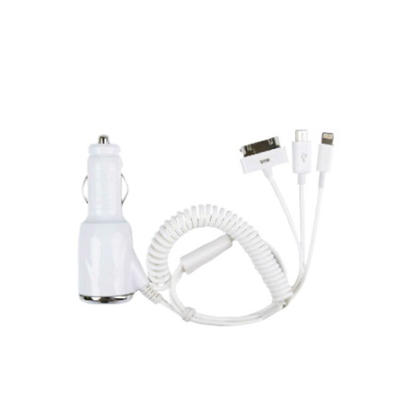 3 in 1 Car Charger Coil Cable Adapter