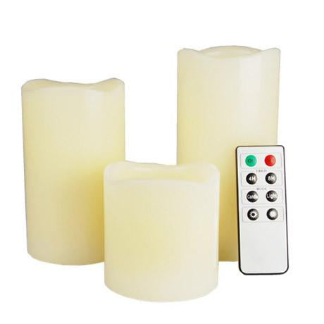 "3-Piece LED Wax Candle Set w/ Built-In Timer & Remote Control – Includes 2"", 3"" & 4"" Wax Candles"