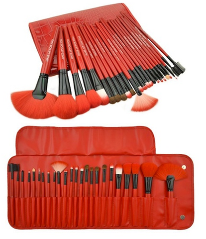 Royal Red Make Up Brush Set with Free Case