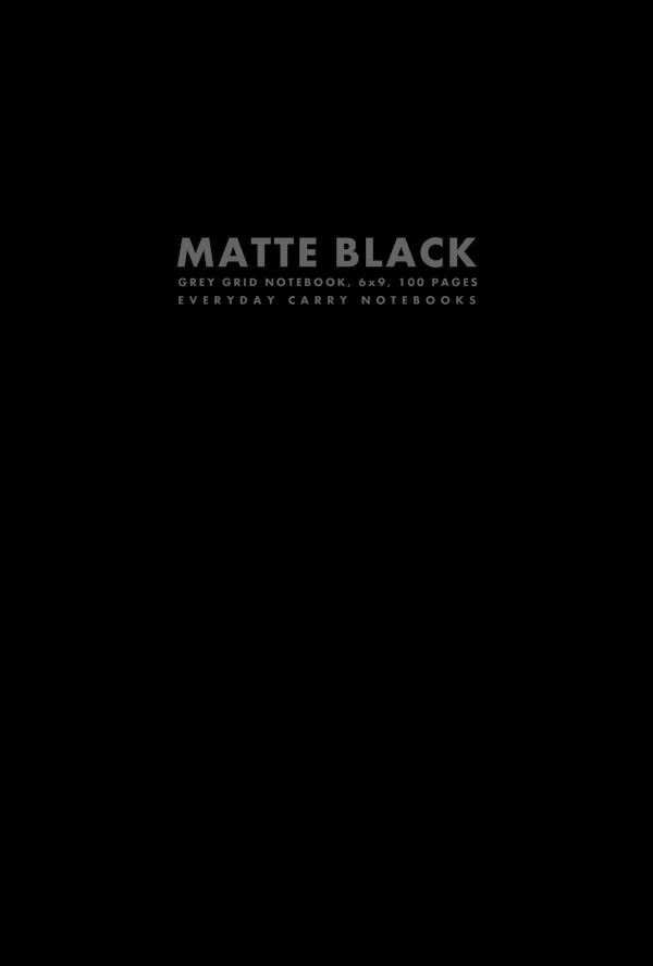 Matte Black Grey Grid Notebook, 6x9, 100 Pages by Everyday Carry Notebooks (ProductiveLuddite.com)