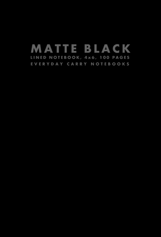 Matte Black Lined Notebook, 4x6, 100 Pages by Everyday Carry Notebooks (ProductiveLuddite.com)