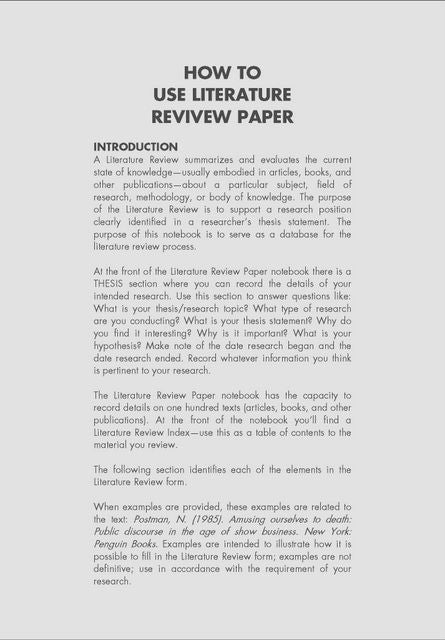 Puchasing papers literature reviews