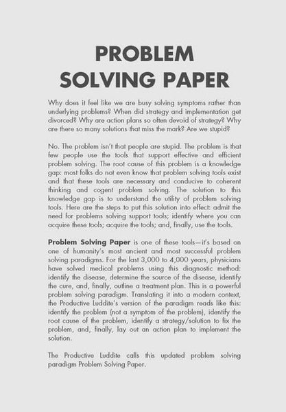 Sample Page from Problem Solving Paper