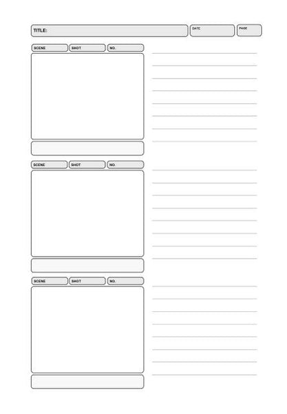 Sample Page from Storyboard 4:3 TV Notebook