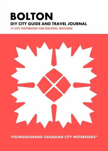 Bolton DIY City Guide and Travel Journal by Younghusband Canadian City Notebooks (ProductiveLuddite.com)