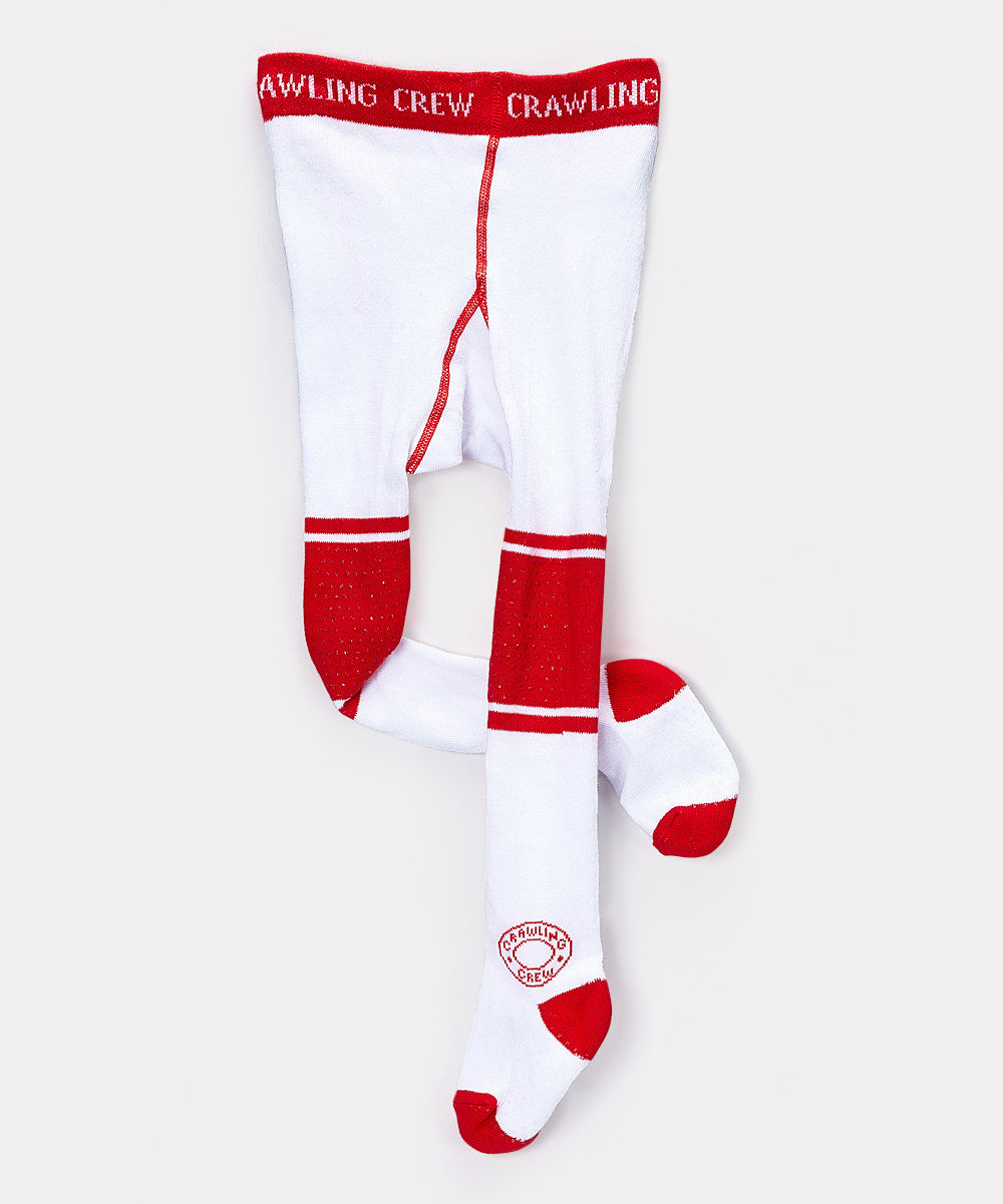 White and Red Cotton Baby Boy & Baby Girl Tights