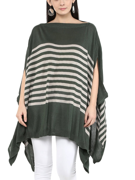 Stripe Ruana in Tencel Poncho