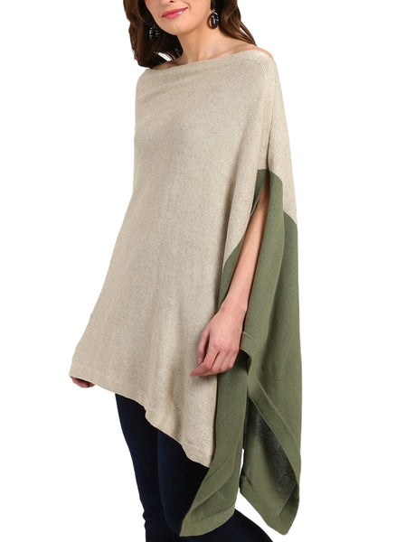 Knitted Linen and Cotton Color Block Poncho