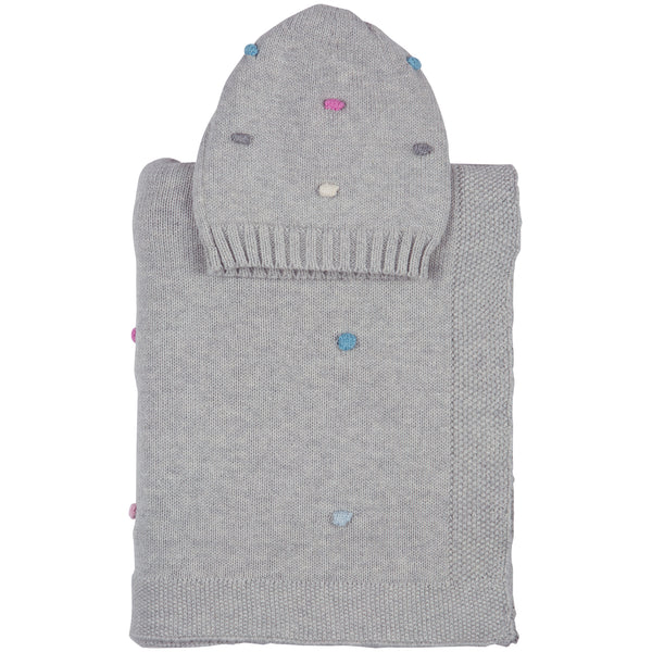 Bubble Knitted Baby Blanket & Beanie Set