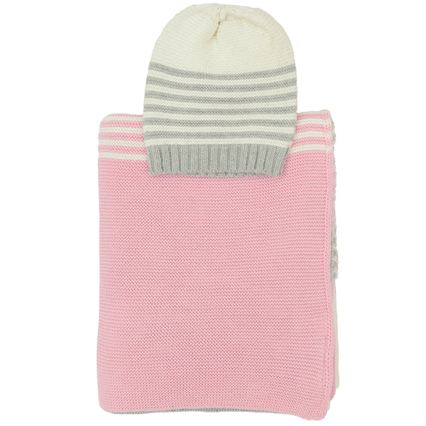 Sia Knitted Baby Blanket & Beanie Set