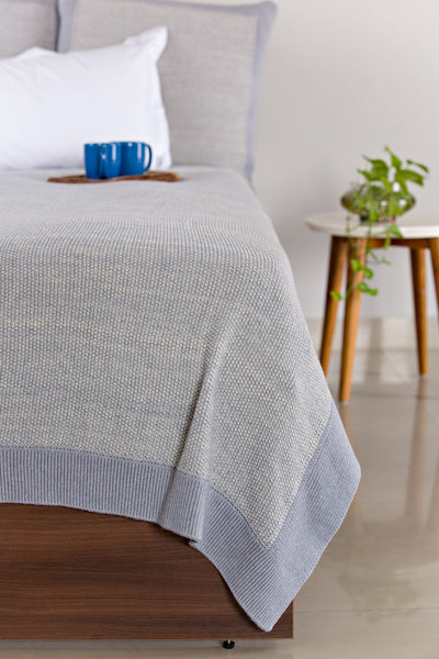 Organic Mini Moss King Knitted Bed Blanket Throw