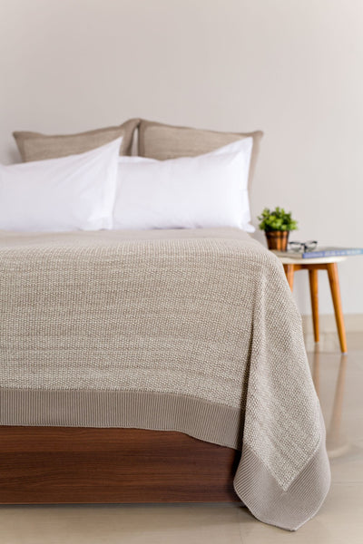 Organic Mini Moss Queen Knitted Bed Blanket Throw