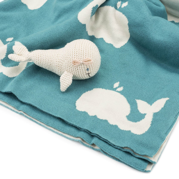 Organic Knitted Whale Rattle Toy