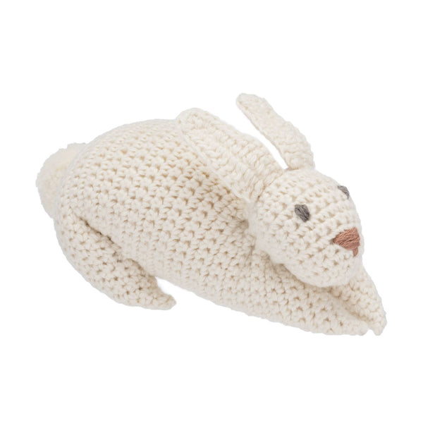 Organic Knitted Bunny Rattle Toy