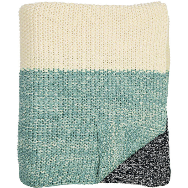 Marl Moss Stripe Knitted Throw