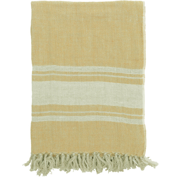 Inlay Border Linen Throw