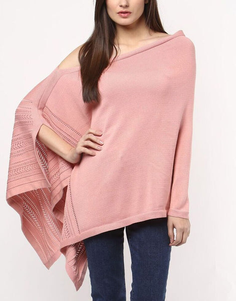 Pointelle Knitted Poncho