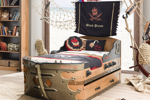 Black Pirate - Gunboat Bed (Mattress  included)