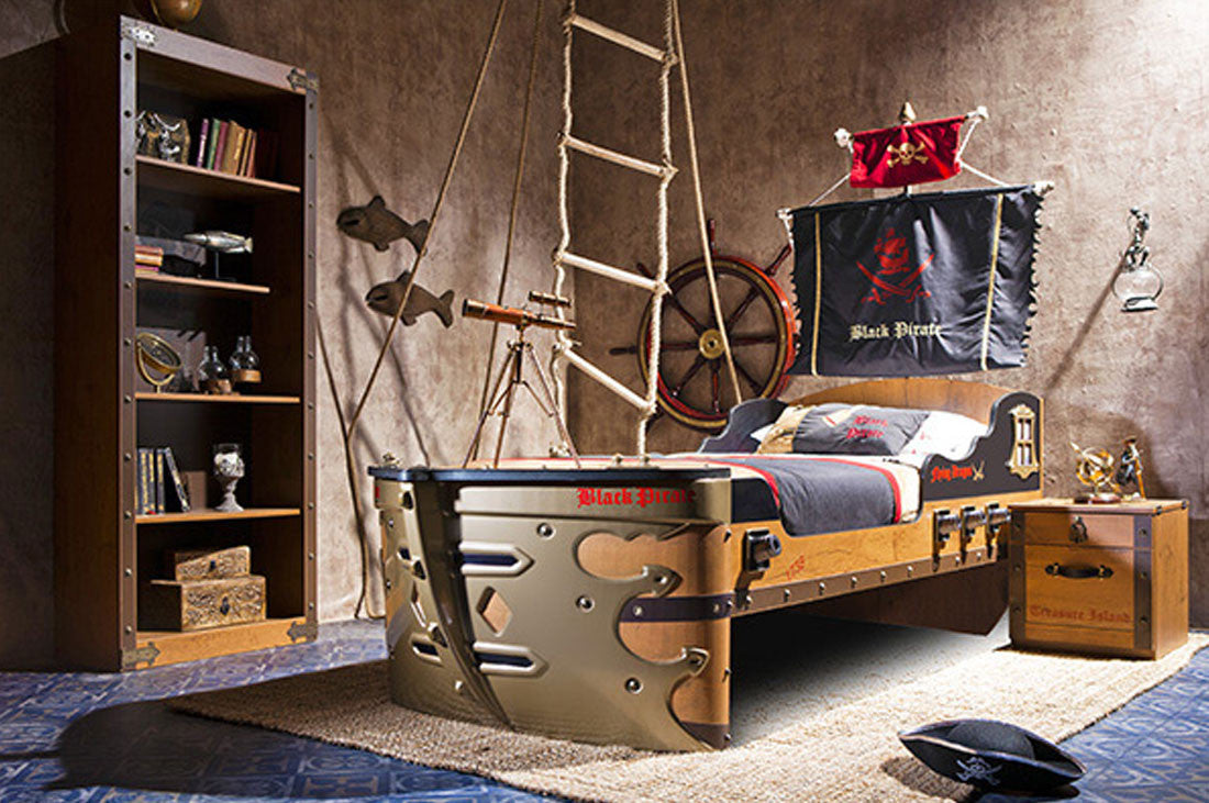 Pirate Bedroom Furniture Black Pirate Gunboat Bed Mattress Included Neverland