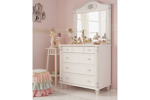 Romantic - 4 Drawer Chest with Mirror