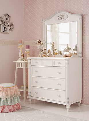 Romantic   4 Drawer Chest With Mirror