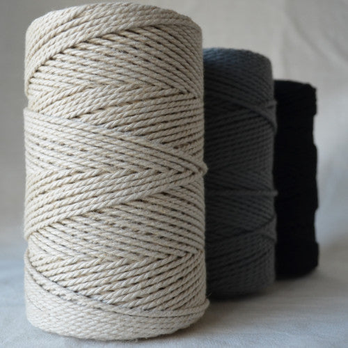 3mm recycled cotton rope in three colours available from String Harvest