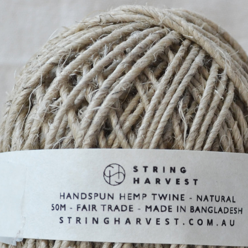 Hemp handspun twine: 50m natural
