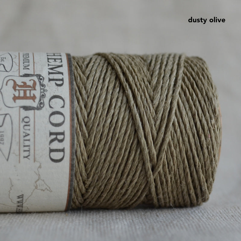 Hemptique hemp cord 1mm 50g Dusty Olive