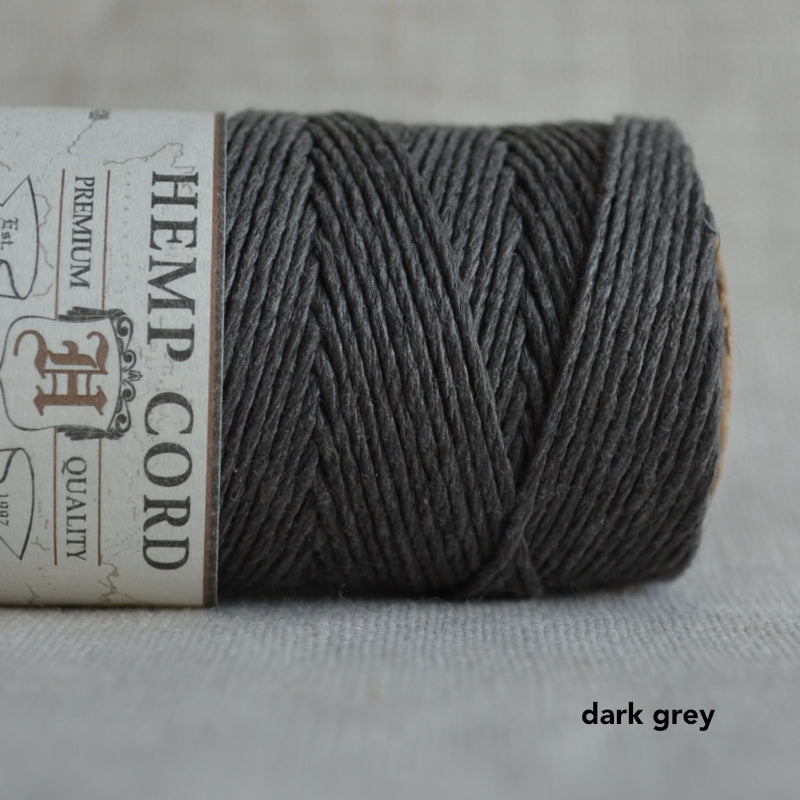 Hemptique hemp cord 1mm 50g Dark Grey