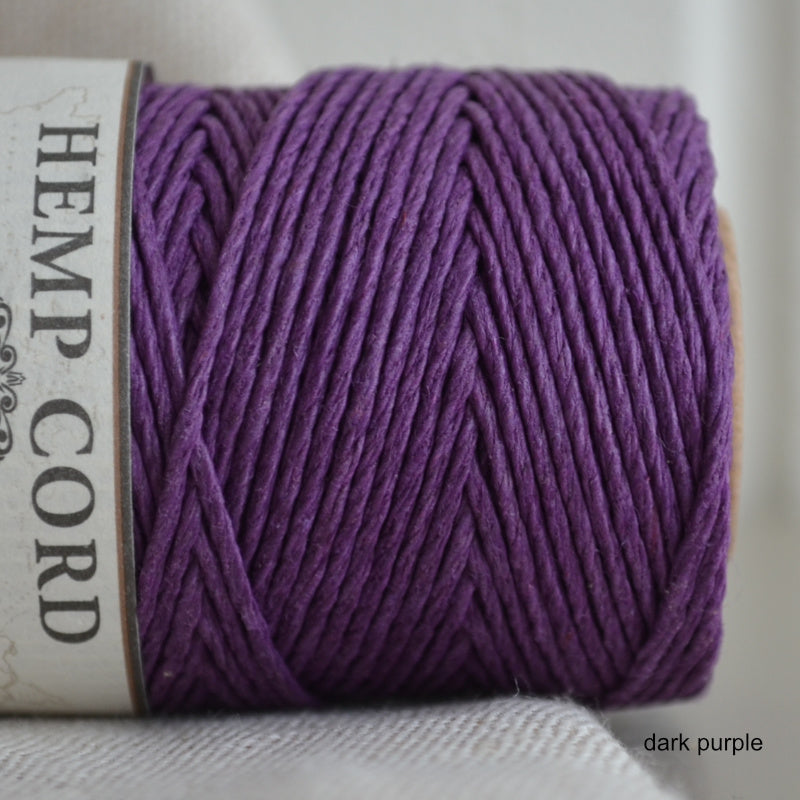 Hemptique hemp cord 1mm 50g Dark Purple