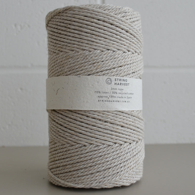 3mm linen blend recycled cotton rope - light 139m