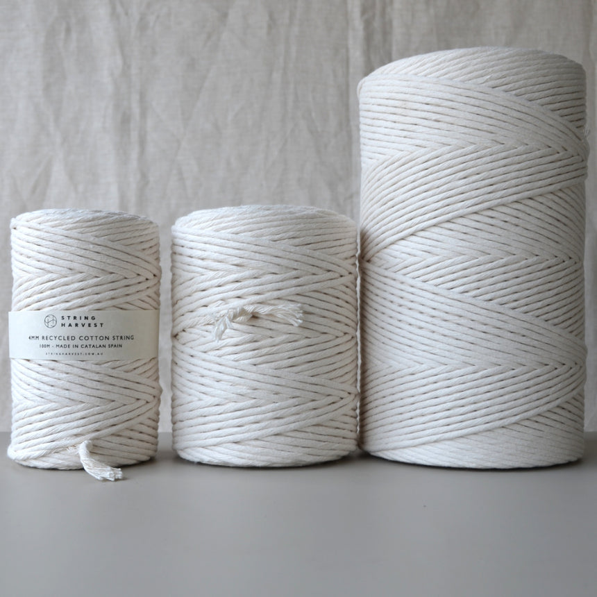 4mm recycled cotton string: Natural 200m