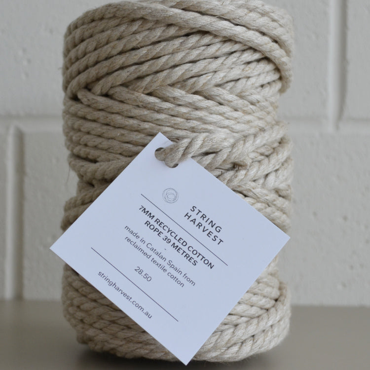 7mm recycled cotton linen rope - string-harvest