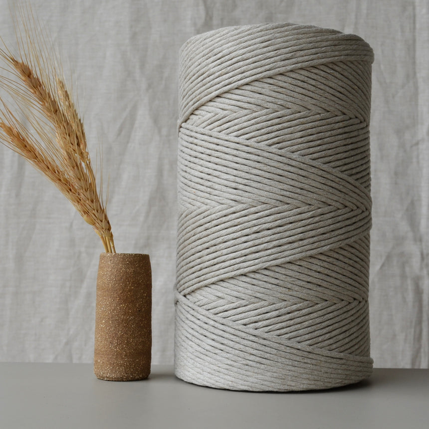 4mm recycled cotton string: Linen blend 500m