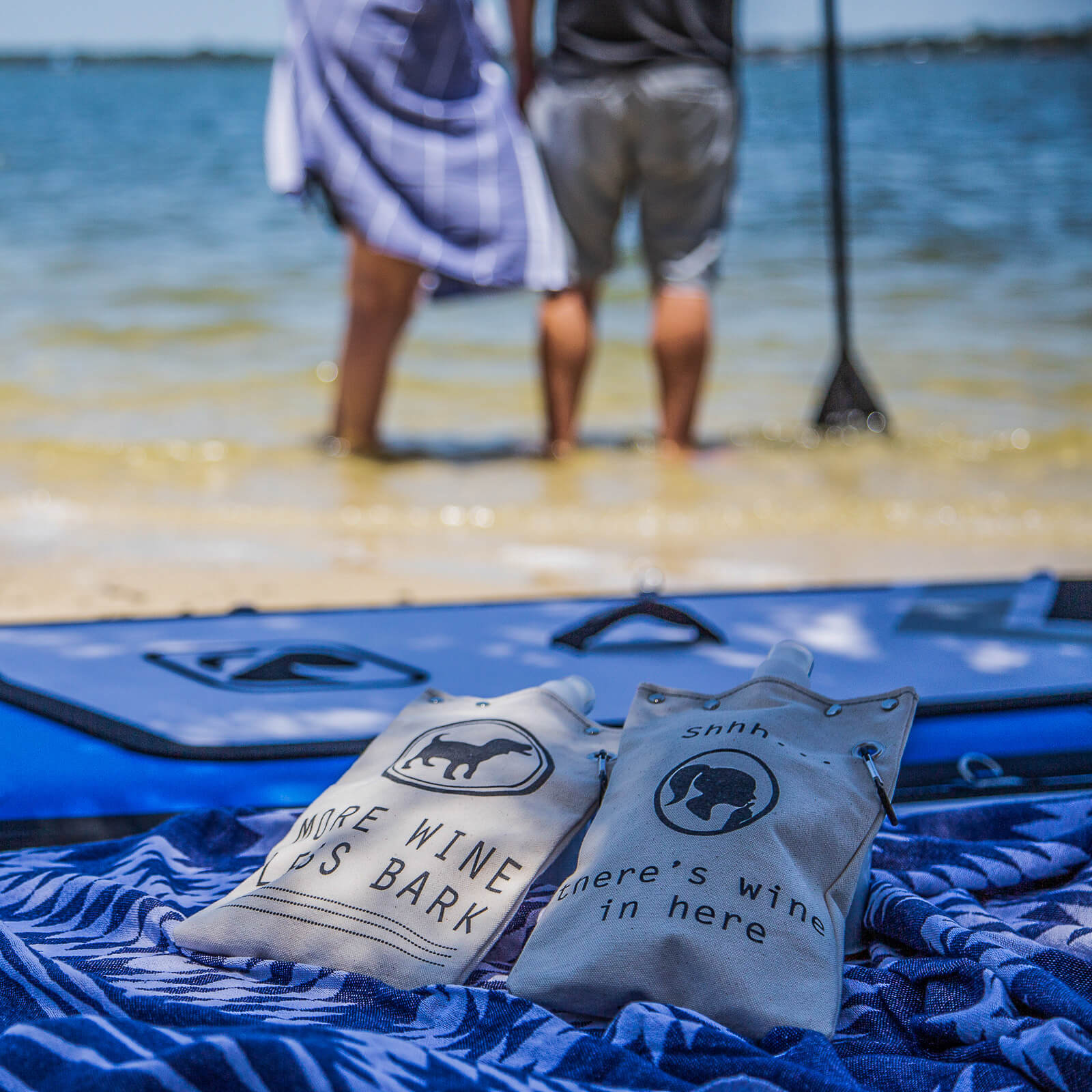 canvas flasks at the beach