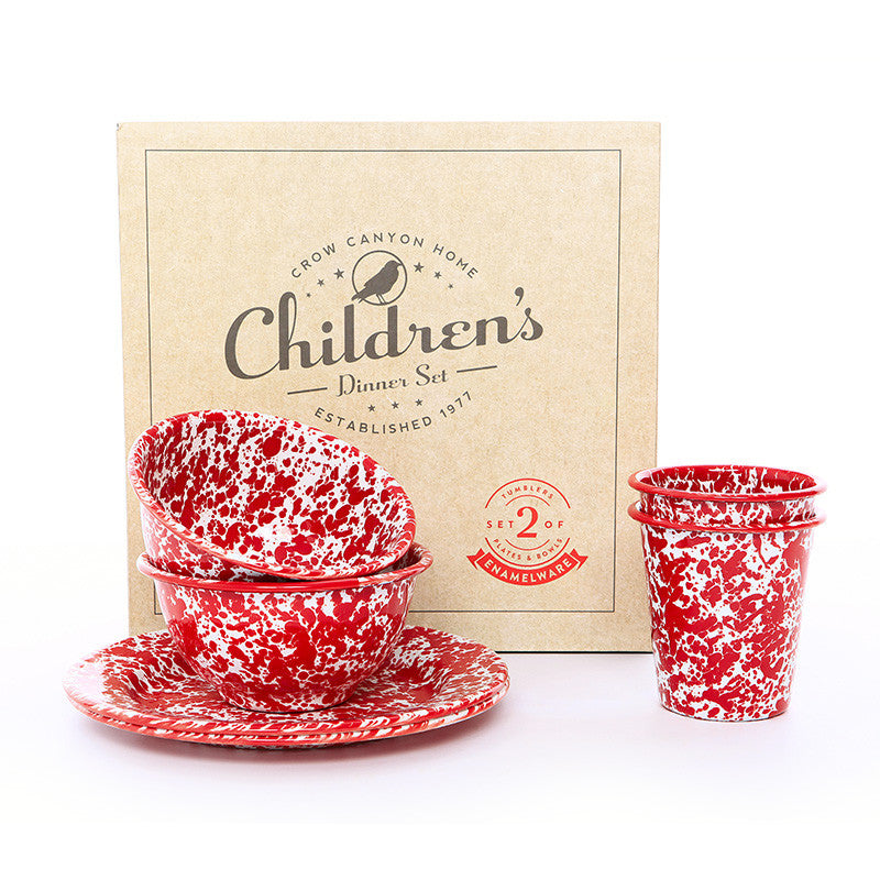 Children's Enamelware Dinner Set, Splatter | more colors Enamelware Crow Canyon Home - ROVE AND SWIG