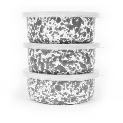 Enamelware D102, 3 Piece Storage Bowl Set, Grey Marble