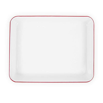 Enamelware V190RED, 11x9 Small Rec Tray, Red Rim